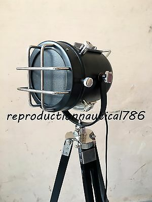 Nautical E 27 Floor Lamp With Tripod Vintage Searchlight Studio Lamp Decorative