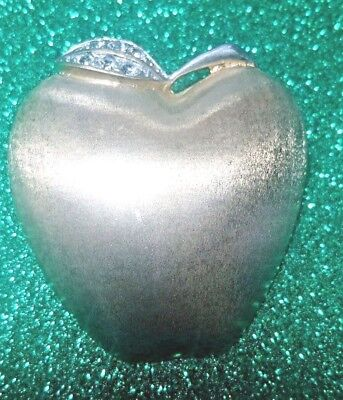 VINTAGE GOLD PLATED RHINESTONES APPLE BROOCH PIN SIGNED BUTLER FIFTH AVE Collect