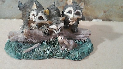 Hand Painted Raccoon Family On A Log Visiting The Bunny Rabbit Figurine
