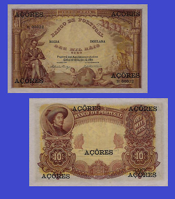 Azores 10 mill oro 1905 brown color. UNC - Reproduction