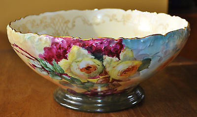 Lovely Antique Hand Painted T&V Limoges France Punch Bowl Centerpiece Bow Roses
