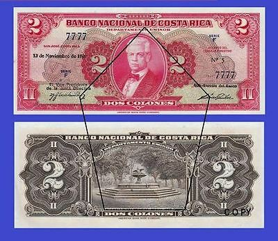 Costa Rica,2 Colones 1946.  UNC - Reproductions