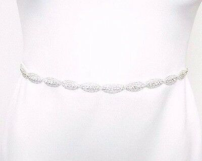 Ivory Silver Diamante Thin Beaded Bridal Belt Sash Prom Crystal Wedding Vtg 2497