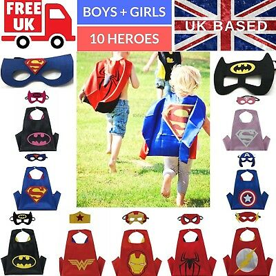 Children Kids Superhero Cape and Mask Costume Super Hero Party Costumes Boy Girl