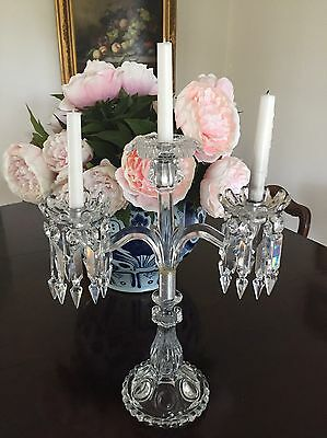 Baccarat Antique Candelabra French Crystal Table Chandelier Candlestick RARE