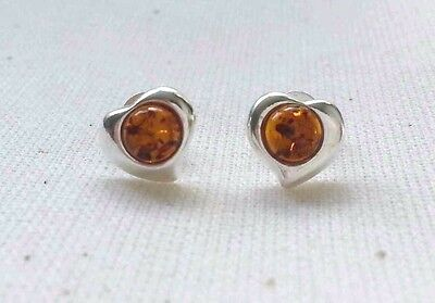 Genuine Cognac Baltic Amber Heart Stud Earrings and 925 Sterling Silver