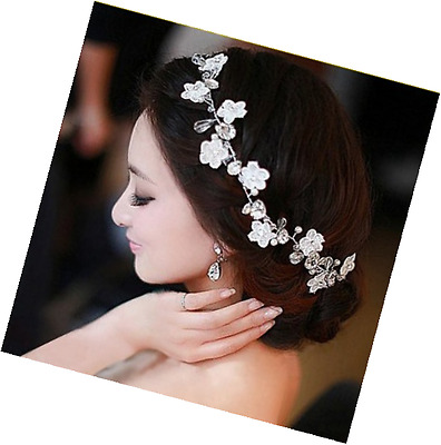 Crystal Diamond Bride Bridal Wedding Hair Head Band Wear Pearl Rhinestone 1