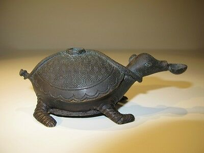 "Chinese Bronze Turtle And Snake Figurine Brush Rest, 4 3/4"" L, Ming Dynasty"