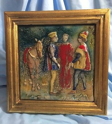 Mid Century Emanuele Terzani Framed Tile People and Horse- Vibrant Colors- Italy