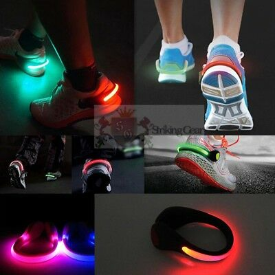 LED Light-Up Full Flashing Design Pair of Shoe Clips Party Run * 8 Colours * UK