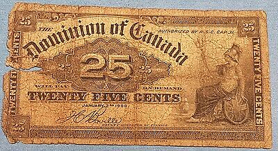 1900 Dominion of Canada 25 Cent Bank Note   ID #95-20