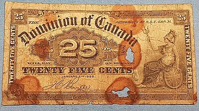 1900 Dominion of Canada 25 Cent Bank Note  ID #95-15