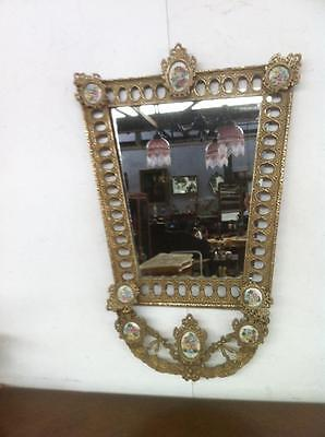 Closing Down  Antique French Rococo Gilt Brass Mirror With Porcelain Medallions