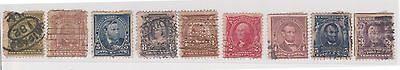 (Q21-87) 1902 USA mix of 9stamps 2c to 15c