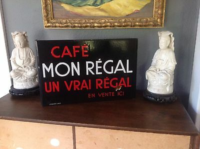 French Art Deco Enamel Cafe Sign Vintage French Adverstisng