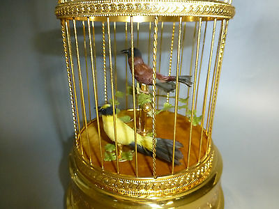 Exc Vintage Swiss Reuge Double Birds Singing Bird Cage Music Box Gold Gilt Model