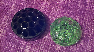 Glass FLOWER FROG Black And Green VINTAGE Lot of 2