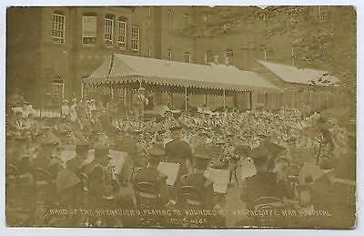 1915 Ww1 Rp Postcard Grenadiers Playing To Wounded Wharncliffe Hospital Uk D18