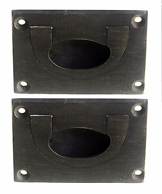 Recessed Campaign Style Drawer Pulls Oil Rubbed Bronze Finish Set of 2