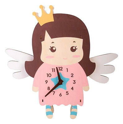 ~ Angelica Angel ~ Doll Baby Child Girls Mdf Pendulum Wall Clock Childrens Baby