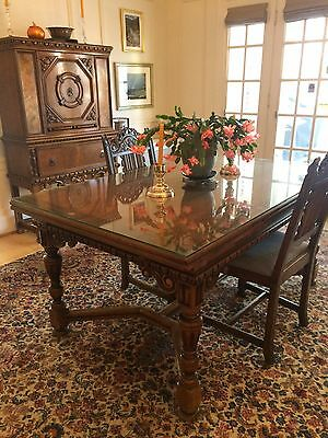 Antique Berkey and Gay Walnut Dining Set: Table, Sideboards, Cabinet, Chairs