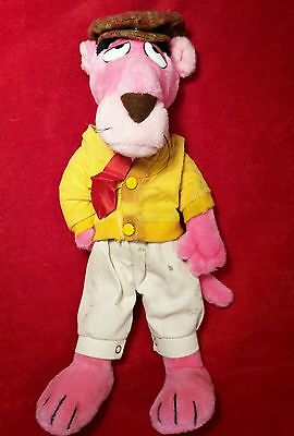 """Vintage Clothed PINK PANTHER Bendable Poseable Plush Doll Toy 16"""" Tall"""