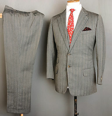 Bespoke Canvassed Savile Row 3Pc Suit 38S 32W 29L Grey Green Striped Wool