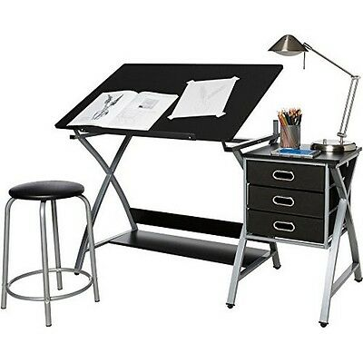 OneSpace 50-CS03 Craft Station with Stool- Black and Silver NEW