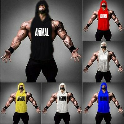 Men Gym Bodybuilding Stringer Clothing Hoodie Tank Muscle Hooded Shirt Vest Tops