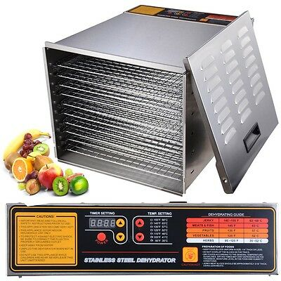 1200W 10 Tray Stainless Steel Commercial Industrial Dehydrator Food Jerky Fruit
