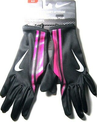 Nike Women's Swift Attitude Run Running Gloves Size Small New NWT Black Pink