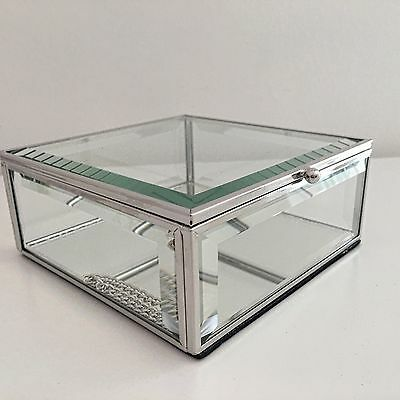 Glass Mirrored Square Trinket Box Dressing Table Jewellery Display Box Lidded