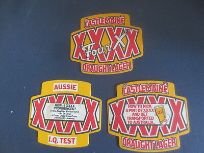 complete set of 3 CASTLEMAINE XXXX / 1990,s United Kingdom Issue COASTERS
