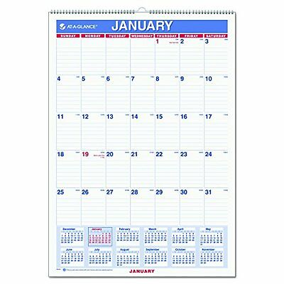 "AT-A-GLANCE Wall Calendar 2017, Monthly, 12 x 17"", Ruled, Wirebound (PM2..."