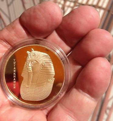 "2017 ""NEW"" !!!~~~EGYPT TUTANKHAMUN~Gold Plated 1oz Medallion in Acrylic Capsule"