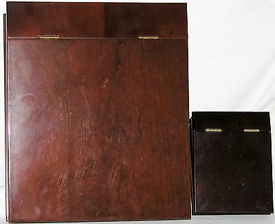 Two ( 2 ) Bombay Slanted Storage Pen Holder Wooden Boxes with Brass Hinged Lid