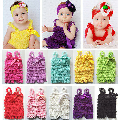 Newborn Baby Girl Lace Floral Jumpsuit Romper Strap Ruffle Dress Sunsuit Clothes