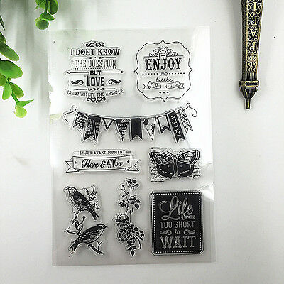 1 Sheet Silicone Rubber Clear Stamp Seal Scrapbooking Diary Christmas Card T18
