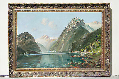 """ANTIQUE old PAINTING lake mountains landscape SIGNED with GOLD FRAME 37"""" x 27"""""""