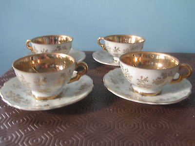 Vintage Japanese gold chintz, gold lined 4 x Coffee Cups and Saucers