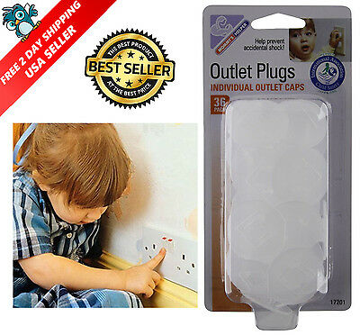 Child Baby Safety Electrical Plug Covers Outlet Cap Key and Cover, 36 Count