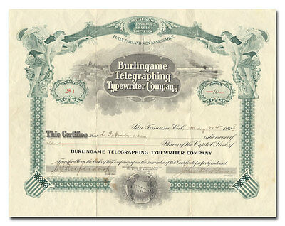 Burlingame Telegraphing Typewriter Company Stock Certificate