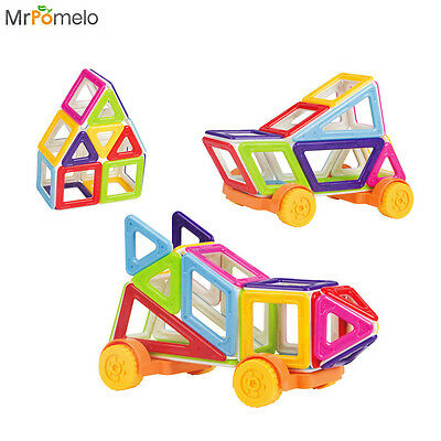 40pcs Mini Magnetic Cars Set for Toddlers Building Construction 3D DIY Baby Kids