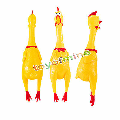Small Screaming Rubber Chicken Squeaky Pet Bulk Tough Dog Chew Treat Toy Gift