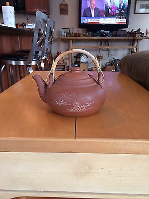 Chinese Yixing Pottery Tea Pot, Signed, Bamboo Handle