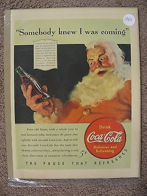 1940 Coca Cola Santa Claus Large Full Page Color Ad Free Shipping
