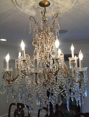 Antique Vintage Italian Crystal Macaroni Beaded Chandelier 12 Light 36""