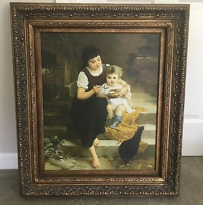 Vintage French Decor Canvas Picture Mother Child Giclee Painting Wood Frame