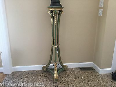 Exquisite Vintage Tall Giltwood French Pedestal Fern Stand Lamp Table Greek Key