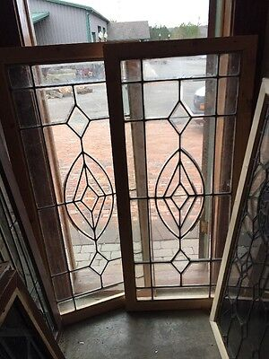 Sg 1275 2Available Price Separate Antique Beveled Glass Window 26.5 X 58.25